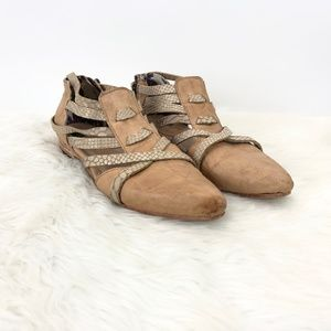 Freebird Camel Emory Strap Leather Booties